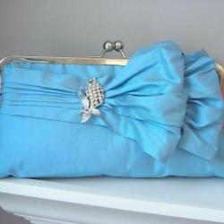 Jasmine Bridal Double-Bow Clutch in Robin's Egg Blue with Vintage Brooch - READY TO SHIP or Customizable in the Color of your Choice