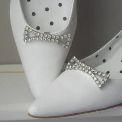 Vintage Rhinestone Shoe Clips in lovely bow shape