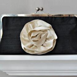 Yvonne Modern Bridal Dupioni Silk Clutch with Silk Flower Accent - Customizable in the Color of your Choice